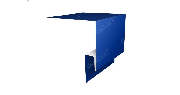 Планка околооконная сложная 200х75х18 (j-фаска) 0,45 PE с пленкой RAL 5005 сигнальный синий