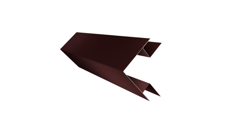 Планка угла внешнего сложного Экобрус Grand Line 0,5 Quarzit с пленкой RAL 8017 шоколад