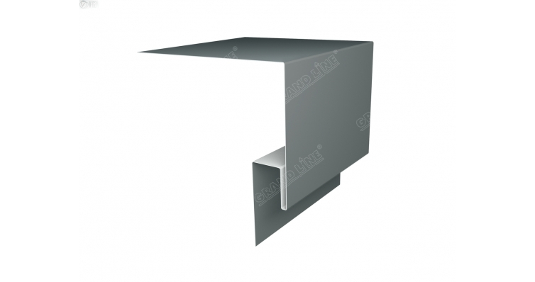 Планка околооконная сложная 200х50х18 (j-фаска) 0,45 PE с пленкой RAL 7005 мышино-серый