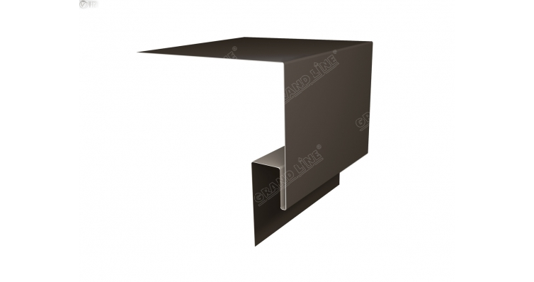 Планка околооконная сложная 250х50х18 (j-фаска) 0,5 Quarzit с пленкой RR 32 темно-коричневый