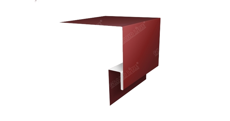 Планка околооконная сложная 250х75х18 (j-фаска) 0,45 PE с пленкой RAL 3009 оксидно-красный